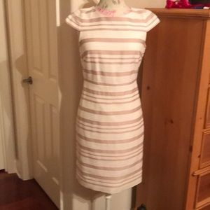 Ivory and pale pink cap sleeve dress